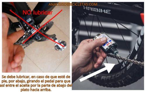 engrasar cadena de la bicicleta eléctrica