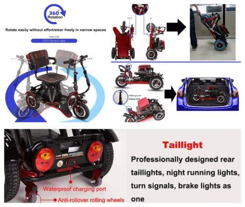 Triciclos eléctrico plegables para adulto 360º precio