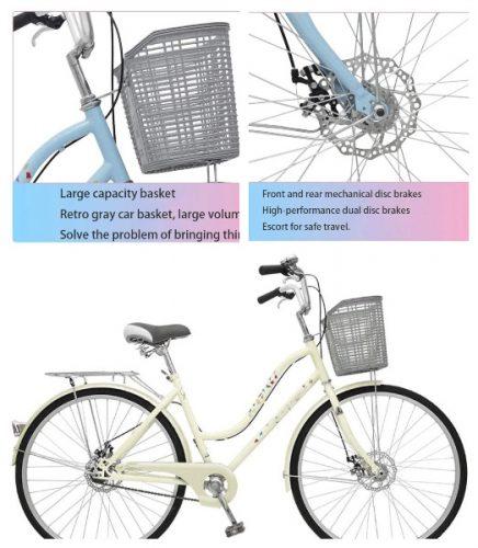 Bicicleta vintage mujer frenos disco